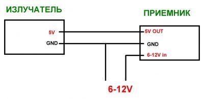 Рекомендуемая схема питания ИК приемника и передатчика